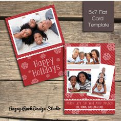 Festive Snowflake Holiday Greeting Card  7x5 by AngryRockDesign