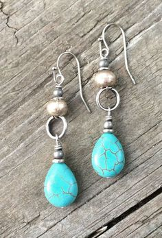 Turquoise silver drop earrings boho jewelry by RusticaJewelry