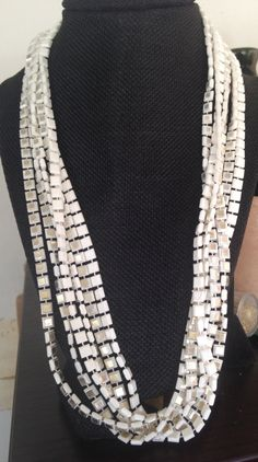 White Plastic Necklace, Vintage White Plastic Necklace, 1960s 1970s white plastic necklace, long white plastic necklace, white plastic by DuckCedar on Etsy