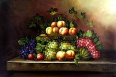 classical still life paintings | Classic Fruit Still Life - Cuisine, oil paintings on canvas.