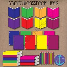 Clip Art: Colorful Classroom Items- open & closed books, pencils, notebooks from Anchor Me Designs on TeachersNotebook.com -  (32 pages)  - Clip Art: Colorful Classroom Items- open & closed books, pencils, notebooks