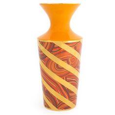 Jonathan Adler Malachite Twist Vase - Orange ($85) ❤ liked on Polyvore featuring home, home decor, vases, orange, jonathan adler vase, orange home accessories, orange home decor, jonathan adler home decor and orange vase