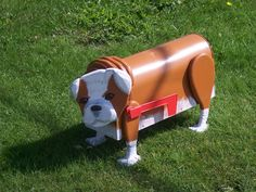Bulldog puppy dog mailbox custom brindle bull dog by CrossKnots Custom Mailboxes, Unique Mailboxes, Painted Mailboxes, Wooden Mailbox, Diy Mailbox, Little Puppies, Dogs And Puppies, Propane Tank Art, Dog Yard