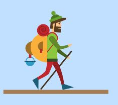 Flat style vector illustration Tourist vector art illustration