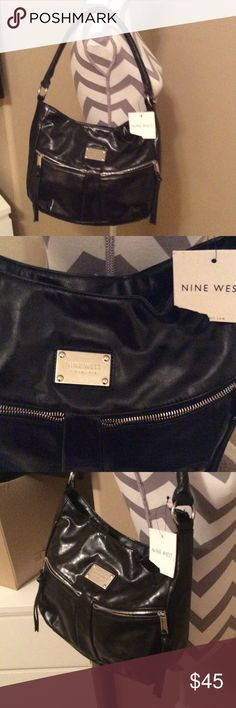 New. With. Tags. 9. West black. Bag Nine West.    Zipper. Pockets. On. Front. Of. Bag. Zipper. Pocket. Inside. Bag Nine West Bags Hobos