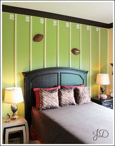 pinterest bedroom decorating ideas football | Boy Bedrooms! See some sports themed bedroom - create a football field ...