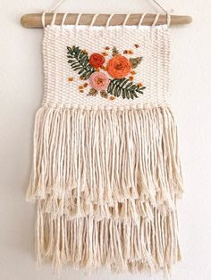 Natural cotton weaving with ebroidery // embroidered weaving // floral weaving Best Picture For fair isle Knitting For Your Taste You are looking for something,. Crochet Wall Hangings, Weaving Wall Hanging, Weaving Art, Tapestry Weaving, Hand Weaving, Loom Weaving Projects, Weaving Loom Diy, Loom Patterns, Crochet Patterns