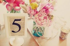 table # on book page. like the flower arrangement too