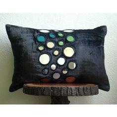 fiber art cushion, shisha mirrors