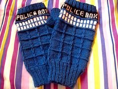 TARDIS Fingerless Gloves. Now THESE I could wear to work.