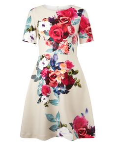 Make a statement in this Aurora Floral Dress from Phase Eight. This fit and flare dress is crafted with a vibrant digital rose print, featuring a round neckli… Rose Pink Dress, Pink Midi Dress, Floral Print Maxi Dress, Pink Maxi, Floral Dresses, Long Sleeve Mini Dress, Maxi Dress With Sleeves, Short Sleeve Dresses, Dress Long