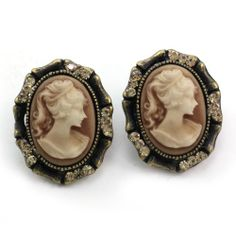 Light Brown Cameo Stud Post Pierced Earrings Antique Vintage Style Fashion Jewelry Soulbreezecollection
