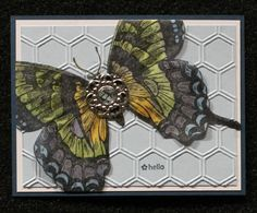 This card is from the Leadership 2013 swap.  It uses items from Stampin' Up! 2013 Spring Catalog; the Swallowtail stamp, Honeycomb embossing folder, and the new Designer Builder Brads...lovely