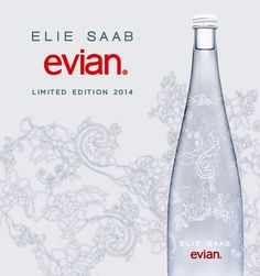 Elie Saab Designs a Lacy Limited Edition Evian Bottle for 2014 Evian Water Bottle, Vodka Bottle, Water Bottles, Agua Mineral, Mineral Water, Packaging Design, Branding Design, Logo Design, Elie Saab