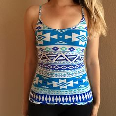 Blue Aztec Print Tank Blue Aztec Print Tank. Brand new. Never worn. Available in S-M-L. Model is wearing a small for reference. 87% polyester 13% spandex. No Paypal. No trades. 15% discount on all 3+ item bundles made with the bundle feature. No offers will be considered unless you use the make me an offer feature.    👉 Please follow 📱 Instagram: BossyJoc3y 👠 Blog: www.bossyjocey.com Tops Tank Tops
