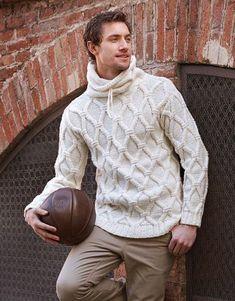 Men's Hand Knitted Turtleneck Sweater XS,S,M,L,XL,XXL Wool Hand Knit jacket 80 #Handmade #Turtleneck