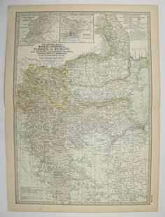 Vintage Map of Balkan Peninsula, Turkey Map Greece 1902 Antique Map, Office Decor Gift, Historical Map available from OldMapsandPrints on Etsy