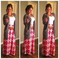 Lularoe Maxi. Super cute with dropped belt and cardigan