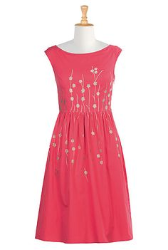 Embellished florals amp up the sweet charm of our cotton poplin dress, cut in a flattering fit-and-flare style.
