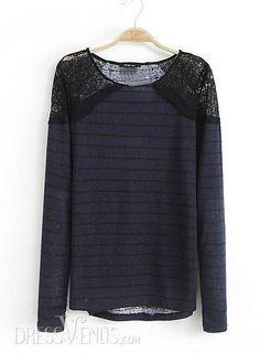 US$23.99 Modern Charming Euramerican Style Split Joint Lace Striped T-shirt . #T-Shirts #Striped #Split #Lace