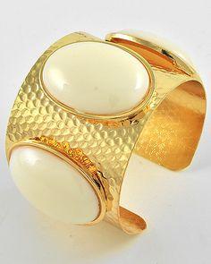 Gold Tone / White Acrylic / Lead Compliant / Cuff Bracelet
