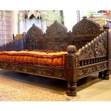 The Triple Arch Jhula DayBed was inspired by the swings of the Maharaja's court. This unique day bed features a carved arch back, lattice interwoven woodwork and arms layered with scales. The Arch Carved Jhula Daybed was hand crafted from solid Indian Nee Gothic Furniture, Indian Furniture, Furniture Styles, Cool Furniture, Bedroom Furniture, Furniture Design, Classic Furniture, Bedroom Decor, King Murphy Bed