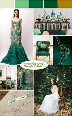 Emerald Green & Gold Wedding Moodboard