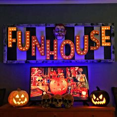FUNHOUSE SIGN Halloween Party Themes, Halloween Projects, Halloween Diy, Diy Projects, Light Up Marquee Letters, Expanding Foam, Liquid Nails, Black Spray Paint, Touch Up Paint
