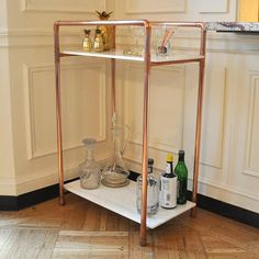Copper And Marble Bar Cart
