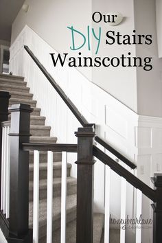 6 Grand Tips AND Tricks: Wainscoting Dining Room Baseboards white wainscoting banisters.Stained Wainscoting Board And Batten white wainscoting interior.Stained Wainscoting Board And Batten. Stairway Wainscoting, Dining Room Wainscoting, Wainscoting Ideas, Wainscoting Height, Wainscoting Nursery, Faux Wainscoting, Stairway Walls, Stairs Balusters, Stair Banister