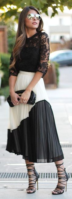 Pleated Colorblock Skirt Fall Inspo by The Girl From Panama