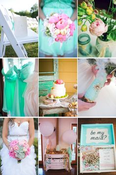 Wedding colors - peony pink and cool aqua blue