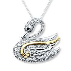 Diamond Swan Necklace 1/10 carat tw Sterling Silver/10K Gold