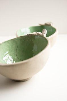 small ceramic bowl mint green and beige pottery dish door karoArt, €23,00
