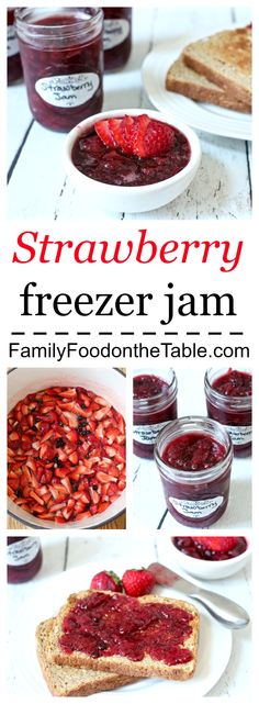 Easy strawberry freezer jam - no canning and sweetened with honey! | Family Food on the Table