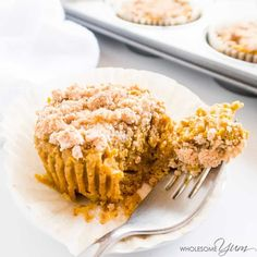 These low carb, paleo pumpkin pie cupcakes are like mini pumpkin pies topped with cinnamon crumbles. Gluten-free, dairy-free, nut-free, and so easy!
