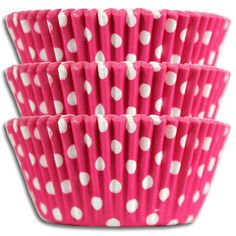 Happy retro baking cups in vibrant bright pink with white dots. Made from a high quality medium-weight greaseproof paper.  #bakingcups #polkadot #hotpink
