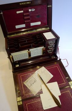 Antique English Brass Mounted Mahogany Writing Box / Stationery from puckerings on Ruby Lane Campaign Furniture, Lap Desk, Antique Boxes, Pen And Paper, Writing Instruments, Wax Seals, Writing Desk, Desk Accessories, Antique Furniture