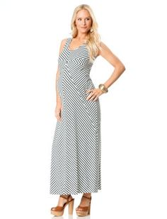 Pink White Chevron Maternity Maxi Dress | Maternity fashion ...