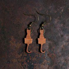Dark Cat Earrings - Laser Cut Wood, Black Cats, Halloween. Just $8.50