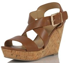 03156d146ae Delicious Brown Tan Faux Leather Strappy Cork Wedge Heels Baymist