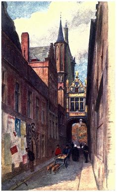 Bruges, Rue de l'Âne Aveugle, Illustrator : Amédée Forestier, Bruges and West Flanders, 1906