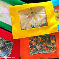 """"""""""" How to Make No Sew I Spy Bags for Kids ⋆ Parenting Chaos """""""" DIY Sensory Toys – 14 Toys for Sensory Play – Moms and Crafters """""""" Diy Sensory Toys For Babies, Baby Sensory Bags, Baby Sensory Play, Sensory Wall, Sensory Book, Sensory Boards, Baby Play, Diy Toys For Toddlers, Sensory Activities"""