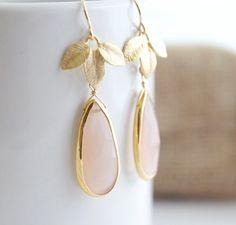 Pink Chacedony Earrings  Bezel Set Earrings  Bridal by Jewels2Luv, $58.50