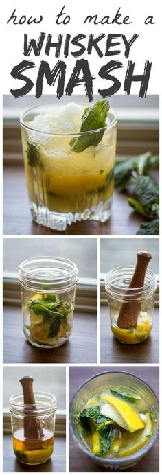 New Years 2016 Was super yummy Tart lemons and fresh mint are muddled with sugar to form the base of this classic Whiskey Smash. Think you don't like whiskey? Think again! Whiskey Drinks, Bar Drinks, Cocktail Drinks, Alcoholic Drinks, Beverages, Whiskey Based Cocktails, Cocktail Shaker, Burbon Drinks, Disaronno Cocktails