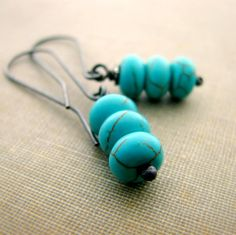 Sterling silver earrings Turquoise dyed Howlite by noblegnome, $26.00