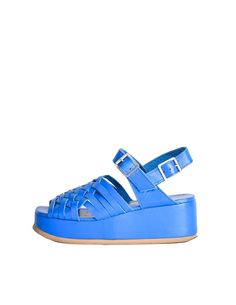 Junya Watanabe Comme des Garçons Vintage Blue Woven Leather Platform S - from Amarcord Vintage Fashion