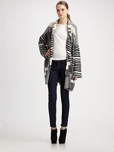 Joie - Varia Oversized Wool and Cashmere Navajo Cardigan (Violet Harmon)