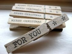 Wooden Clothespin Tags-5 Christmas Wooden Clothespin Tags