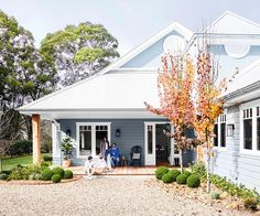 Timeless colour schemes, aged timbers and antiques all imbue this new home in the NSW Southern Highlands with real character. Welding Table, Exterior Paint, Exterior Design, Country Home Exteriors, House Exteriors, Tree Lined Driveway, Mcm House, Kids House, Character Home